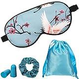 1 Set Máscaras de Dormir con Tapones de Oídos, Bolsa de Almacenamiento y Scrunchies de Pelo, Máscara Antifaz de Dormir de Seda de con Estampado de Grulla Cubierta de Ojos con Cuerda Ajustable