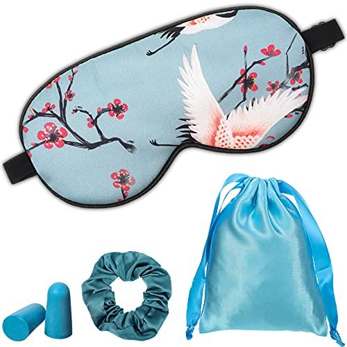 1 Set Schlafmasken mit Ohrstöpsel, Aufbewahrungstasche und Haargummis, Seiden Schlafmaske Augenmaske Augenabdeckung Kran Muster Augenmaske mit Verstellbar Gurt für Reisen, Nickerchen
