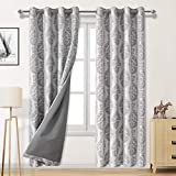 DWCN Faux Linen 100% Blackout Curtains with Thermal Back Coating - Insulated Energy Saving & Noise Reducing Curtains for Living Room and Bedroom, 52 x 84 inch, Set of 2 Grey Curtain Panels