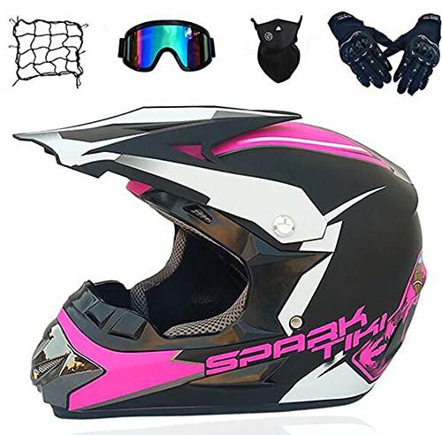 LOOSE Motocross Casco Adulto, Face Face MTB Casco Conjunto con Gafas Gloves Máscara, Kids Motorcycle Crash Motorbike Casco Casco de Carretera ATV Enduro Downhill Quad Road Race,Rosado,M