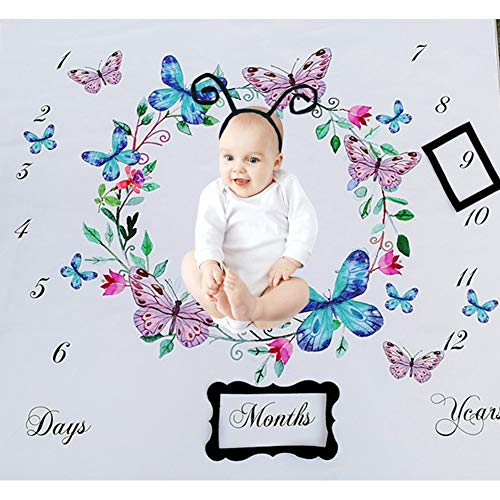 Baby Monthly Milestone Blanket Infant First Year Beauty Butterfly Milestone Blanket