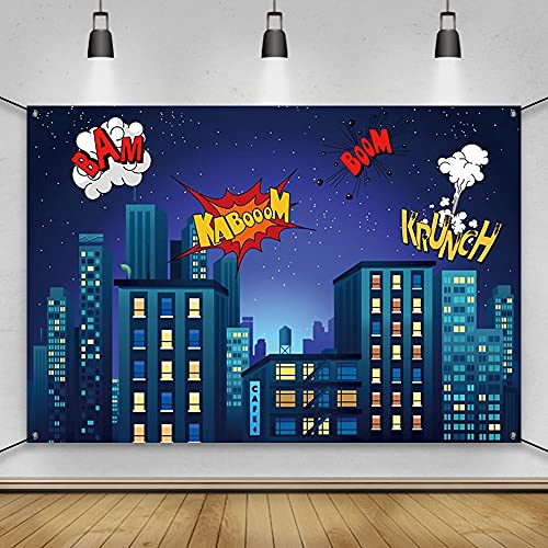 AWERT Polyester 6x3.6ft Anime Banner Superhero Super City Birthday Party Decorations Banner Cartoon City Night Scene High-rise Buildings Anime Birthday Party Supplies