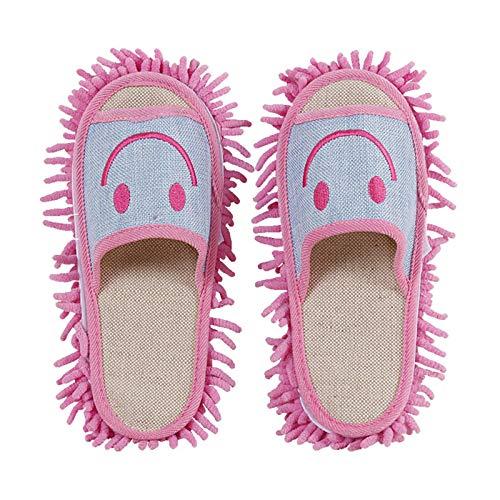 KCCCC Zapatillas de trapeador 2 Pares de Limpieza Ultrafina de la Limpieza de Chenilla limpiando limpiando Zapatos de Interior Zapatillas Zapatillas de Limpieza de Piso (Color : Pink, Size : Medium)
