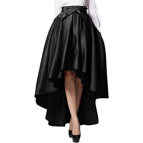 171d092ff3 PERSUN Womens Taffeta High Waist Bowknot Front Hi-lo Prom Party Skater Skirt