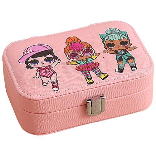 Pendientes De Anillo Rosado Organizador De Caja De Joyería para Niñas Mujeres, Pequeña Caja De Almacenamiento De Joyería De Viaje, Collar Pulsera PU De Cuero Joyería Pink
