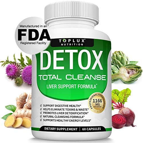 Detox Cleanse Liver Colon Cleanser Body Detoxifier - Natural 5 Day Detox, Support Digestion System, Flush Toxins & Urinary Tract, Milk Thistle Extract, for Men Women, 60 Capsules, Toplux Supplement