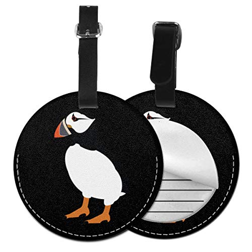 Puffin Bird Round Luggage Tags Leather Baggage Travel ID Labels