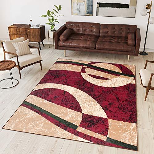 TAPISO Dream Tappeto Salotto Moderno Soggiorno Rosso Beige Astratto Cerchi Onde A Pelo Corto 160 x 230 cm