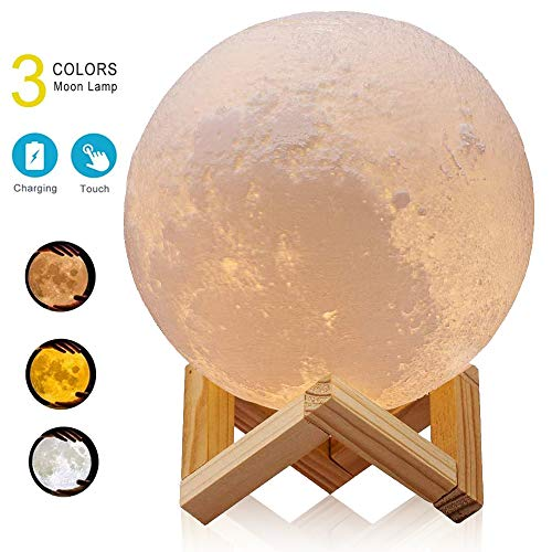 Large 7.1IN ACED 3D Printing Moon Lamp, Lunar Night Light, Dimmable Desk Lamp USB Charging, Touch & Remote Control, 3 Colors, Timing Function, Christmas Decoration Gift for Kids, Nursery Lamp 18CM