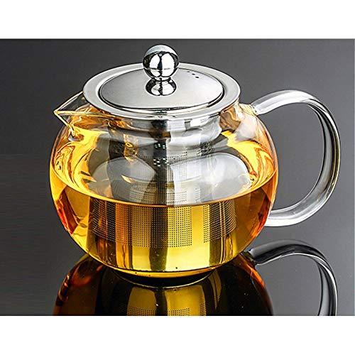 NGCSH Teekanne Glas Teekanne Gewölbt Hyaline Edelstahl Filter Beständig Kaffee Tee-Sets Schwarztee-Set Puer Wasserkocher Tee-Ei