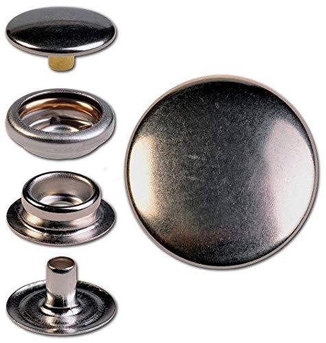 Hoppe & Masztalerz 30 Ringfeder-Druckknöpfe F3 14mm aus Eisen (nickelhaltig), Finish: nickel-glänzend, Verschlusskraft: medium