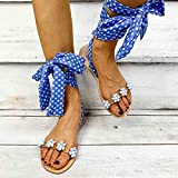 Sandalias Planas Verano Mujer Estilo Bohemio Plano Sandalias con strass Elegantes Flip Flop Playa Moda Chanclas Talla 35-43,Azul,42