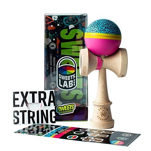 Sweets Kendamas Custom Kendama Fresh 90s, Premium Skill Toy, Extra String Accessory Gift Bundle