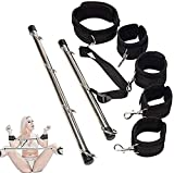 MichPong Tempting and Beautiful Hands Feet Connection Bar BĎSṂ Bọňdạgẹ Toys Kit Black Expandable Spreader Bar with 4 Fur Black Adjustable Straps Sports FetiŚh Tools Kit Love scěne