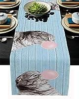 テーブルランナー 動物 猫 木紋 泡 ピンク テーブルクロス モダン 北欧風 プレースマット レストラン用 滑り止め 上品 断熱 食卓飾り お食事マット おしゃれ インテリア 33x229cm