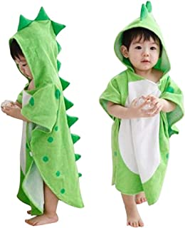 Scorpiuse1_jp 子ども用バスローブ ポンチョ マント バスタオル フード付き お風呂 出産祝い贈り物にも (グリーン)