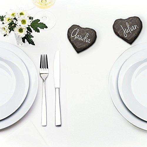 30x Schieferherzen Tischkarten zur Hochzeit – handgefertigtes Komplettset mit Edding – Tischkarten aus individuellen und personalisierten Schieferherzen – Hochzeitsspiel und Hochzeitsgeschenk