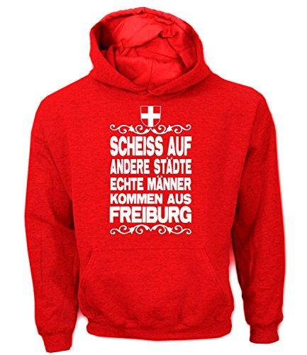 Artdiktat Herren Hoodie - Scheiß auf andere Städte - Echte Männer kommen aus Freiburg Größe M, rot