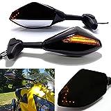 Negro Motocicleta Señal de giro Espejo Retrovisor con Indicador LED de Flecha para CBR GSXR YZF(Negro Brillante + Lente de Humo)