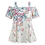 VEMOW Sommer Grace Damen Mädchen Frauen Offene Schulter Plus Size Casual Täglichen Party Schmetterling T-Shirt Tops Bluse Pullover Pulli(Weiß, 58 DE / 5XL CN)
