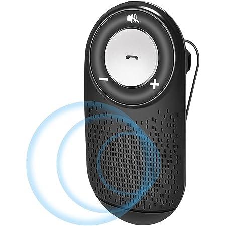 NETVIP 車載用 Bluetoothスピーカー ワイヤレスポータブルスピーカーハンズフリーキット 通話 音楽再生 LINE通話対応日本語アナウンス自動電源ON、OFF機能2台待ち受け ブルートゥース4.0 大音量、インテリジェントな GoogleアシスタントとSiriをサポート, 車/家/オフィスに用