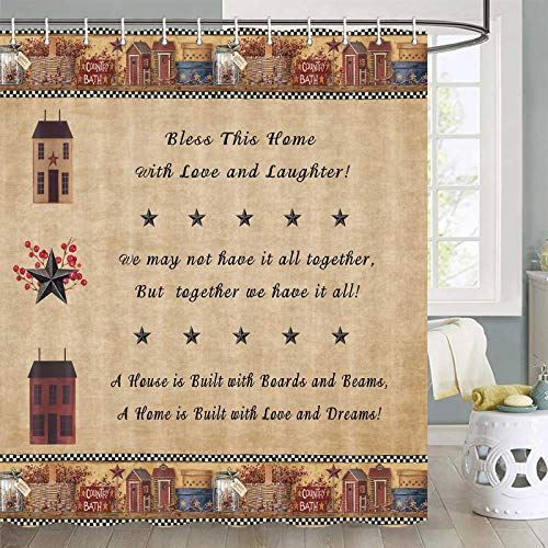 Country Shower Curtain, Rustic Western Star Country Stars with Berries and Funny Words Country Primitive Shower Curtain, Fabric Primitive Country Shower Curtain Hooks Include, 70 in