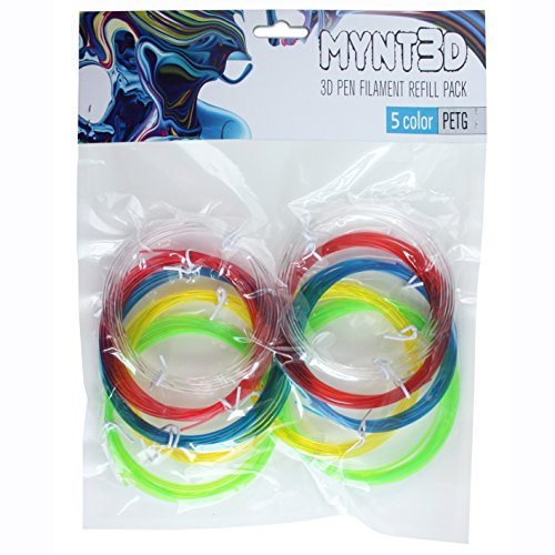 MYNT3D PETG Translucent 3D Pen Filament Refill Pack (5 Color, 6m Each)
