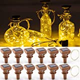 YJFWAL Upgraded 12 Pack Solar Wine Bottle Lights,20 LED Starry Cork Lights Solar Operated Mini Copper String Lights for Wine Bottles with Cork Christmas,Outdoor,Wedding Decor(Warm White)