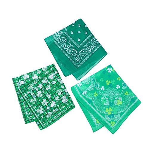 Générique 3 stuks bandana, bandana, katoen, klaverblad, bedrukt, vierkant, make-up, halsdoek, voor festival, party, vakantie, groen