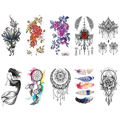 CARGEN 10 Sheets Mehndi Flower Petal Temporary Tattoos for Women Mandala Fake Tattoo Body Art Watercolor Painting Dream Catcher Mermaid Stickers for Women Girls on Chest Legs Arm