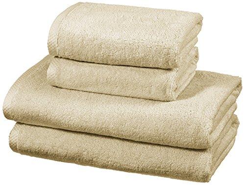 AmazonBasics - Handtuch-Set, schnelltrocknend, 2 Badetücher und 2 Handtücher - Leinenbeige, 100 Prozent Baumwolle