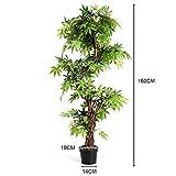 COSTWAY Zimmerpflanze Deko, Kunstpflanze grün, Dekopflanze künstlich, Kunstbaum Pflanzendekoration Innendekoration für Zuhause Garten Büro (160x19x19cm) - 8