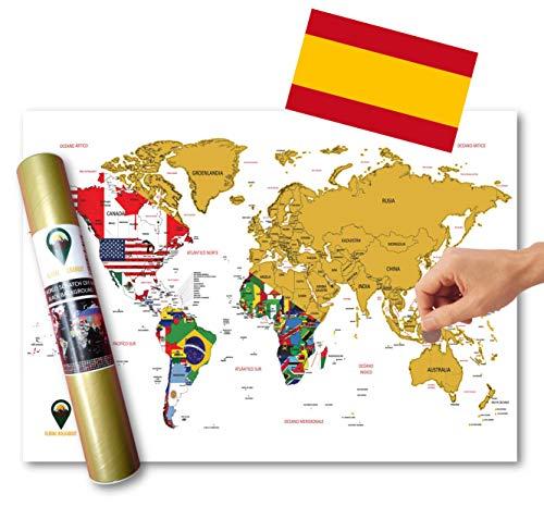 Walkabout Global ESPAÑOL - Mapa De Raspaditos Con Fondo De Banderas - Cartel De Lujo Del Mapa Mundial - Países Y Hechos - Regalo De Viaje - RECORRIDO MUNDIAL (blanco o negro) (blanco)