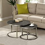 FirsTime & Co. Hayes Silver Nesting Coffee Table 2-Piece Set, American Crafted, Aged Silver, 27.5 x 27.5 x 16