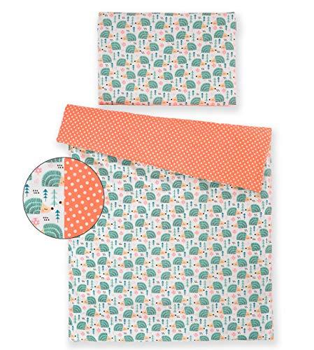 Kinderbettwäsche 120x90 2 Tlg. Bettwäsche zweiseitig 100% Baumwolle NEU Bettset (Minze Igel)
