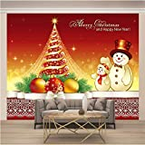 JKM Wallpaper 3D No Tejido Mural Autoadhesivo Mural Tamaño Múltiple Dibujos Animados Árbol De Navidad Muñeco De Nieve Mural Fotomural Papel Pintado Fondo De Pantalla Personalizado Hd Exquisito Tv Fond