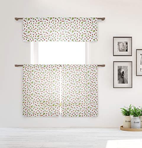 Duck River Textile Home Maison Sheila - Juego de sábanas y cenefas de Lino con Textura de Fresas Estampadas, Cortina de Ventana...