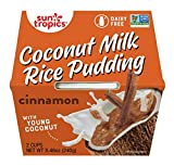 CONTAINS: 12 - 4.23 Ounce Cups of Sun Tropics Coconut Milk Rice Pudding Snack, Cinnamon CREAMY. COCONUTTY. COMFORTING. A classic favorite transformed into an anytime snack with the goodness of coconut milk and tender young coconut pieces. DAIRY FREE,...
