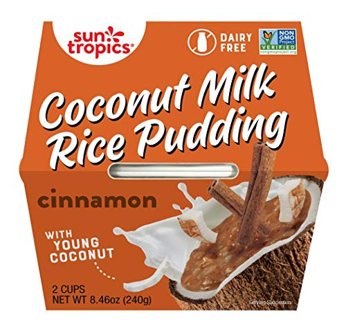 Sun Tropics Coconut Milk Rice Pudding Snack, Cinnamon, 4.23 oz Cups (12 Pack), Gluten Free, Dairy Free, Vegan, Low Sugar, Non-GMO, Ready-to-Eat