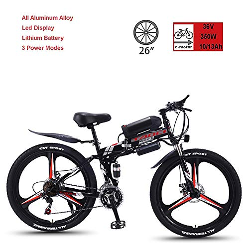 CHJ Electric Bicycle, 26-Inch 21-Speed Mountain Folding Bicycle, Lithium Battery 36V350W-8AH, 13AH Super Endurance 50-90KM, Used for Adult Men and Women Travel Off-Road,13AH