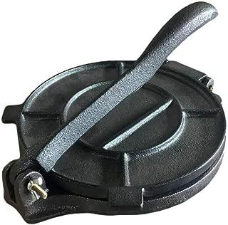 Cast Iron Tortilla Press - Flour Corn Flatbread Pita Press Maker - 8 Inch - Black