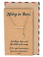 Quan Jewelry クリスタルハングインバーペンダントネックレス インスピレーションを与えるメッセージ入り グリーティングカード