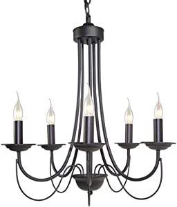 Riomasee Rustic French Country Chandelier 5-Lights Metal Candle Chandeliers in Painted Black for Dining,Living Room,Foyer,Bedroom,Kitchen Island 23.6 Inches