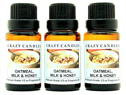Crazy Candles Oatmeal, Milk & Honey (Made in USA) 3 Bottles 1/2 FL Oz Each (15ml) Premium Grade Scented Fragrance Oil