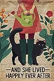 Placa de metal con diseño de metal para jardín, diseño de chica y gato negro, estilo retro vintage, para barra de café, bar y descanso, 20 x 30 cm