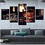 DBFHC Art Cuadros En Lienzo Cigarro Cenicero Decoracion De Pared 5 Piezas Modernos Mural Fotos para Salon Dormitori Baño Comedor 150X100Cm