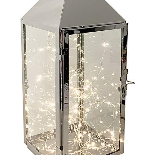 Mojawo XXL Luxus Gartenlaterne aus rostfreier Edelstahl Windlicht Laterne Glas H54 cm Silber + LED Tropfen Lichterkette