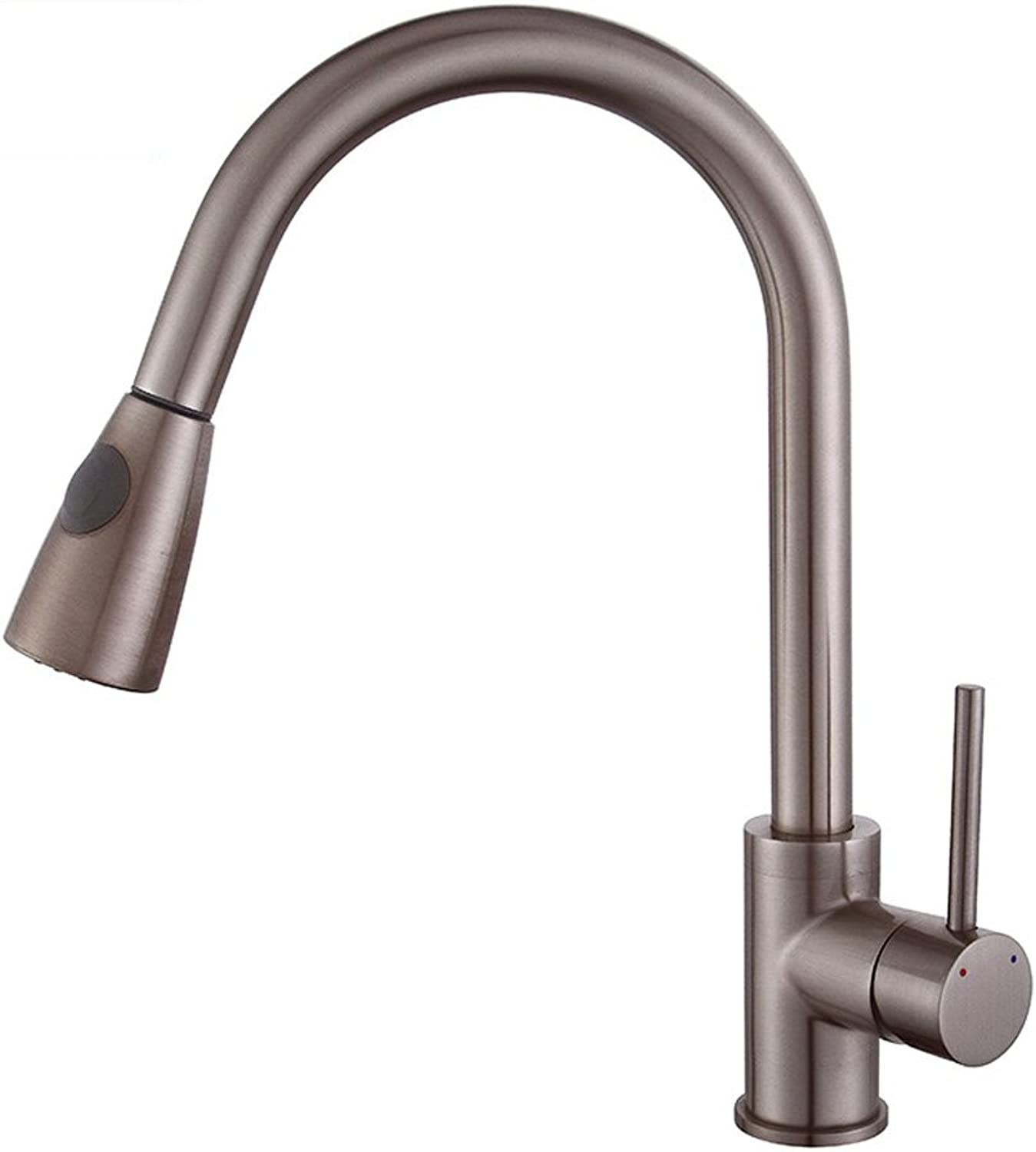 Neilyn Modern Full Copper Brush Finish Pull-Out Faucet Hot and Cold Kitchen Sink Bathroom Vanity Basin Mixer Taps Single-Hole Single-Handle Deck Mounting Faucet