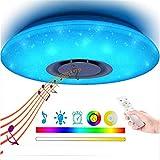 Kelvin LED-Deckenleuchte Mit Fernbedienung Und Bluetooth Lautsprecher Farbwechsel, Kompatibel Amazon Alexa/Google-Assistent, Dimmbar, Warmweiß Kaltweiß, 2700-6500,500mm48w+rgb