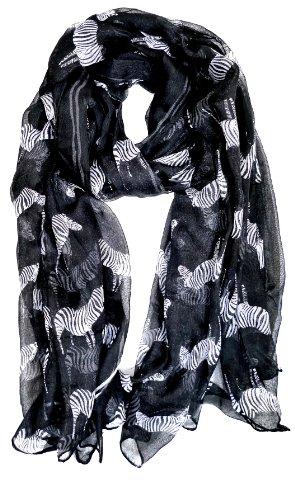 Star-Black-S96 Zebra-Print Shawl. Groß genug um als Sommer-sarong